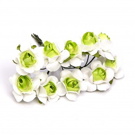 Paper Flowers White And Green