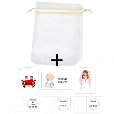 Organza Bags + Cards/ Stickers